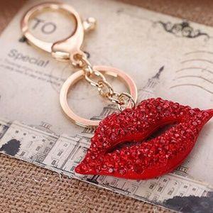 LIPS! Rhinestones keychain purse bag clip NEW